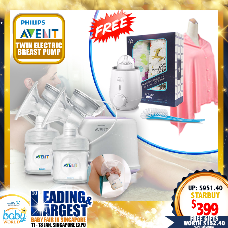 Philips Avent Twin Breastpump + Free Food Warmer + Gifts worth $152.40!