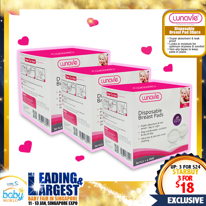 NEW LAUNCH!! Lunavie Disposable Breast Pad Bundle of 3 Boxes (108pcs)