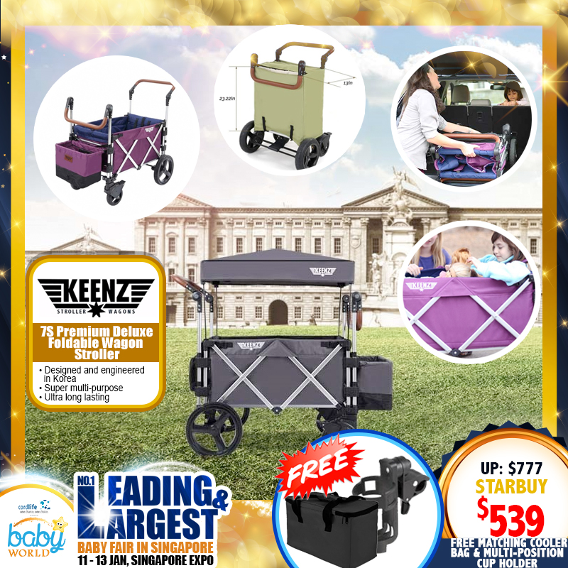 KEENZ 7S Premium Deluxe Foldable Wagon Stroller with FREE Gfits WORTH $54!! *ADDITIONAL $39 OFF with SAVE MORE COUPON!!