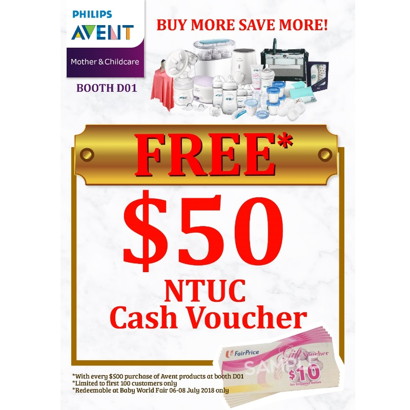 FREE $50 NTUC CASH VOUCHERS (PHILIPS AVENT BOOTH ONLY!!)