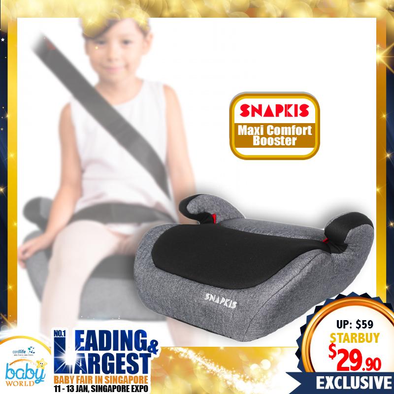 Snapkis Maxi Comfort Booster Seat 4-12yrs (Grey Melange & Black II)