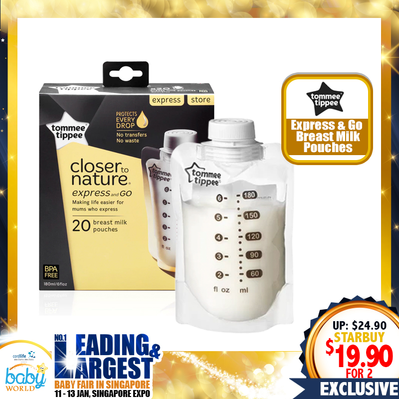 TOMMEE TIPPEE Express & Go Breastmilk Pouch Bottle Bundle of 2!!