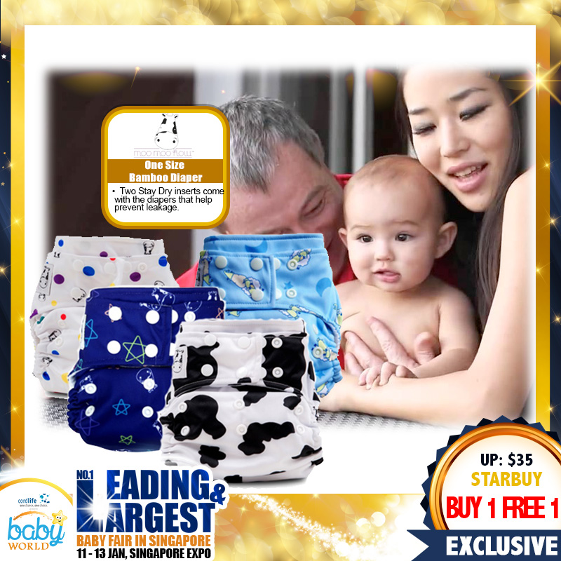 Moo Moo Kow One-Size Bamboo Diaper (BUY 1 FREE 1!!)