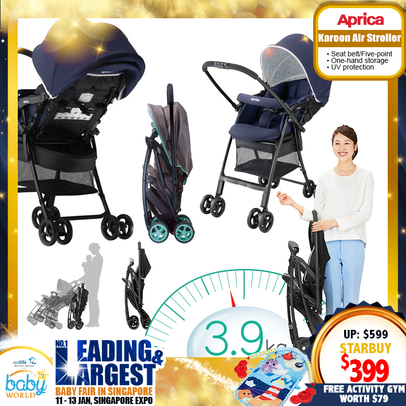 Aprica Karoon Air Stroller + Free Little Tikes Soothe 'n Spin Activity Playgym worth $79