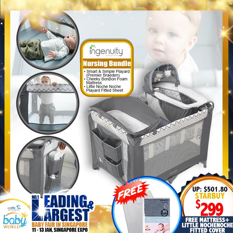 Ingenuity Smart and Simple Playpen + Cheek Bon Bon Foam Mattress + Little NocheNoche Playpen fitted cover Bundle