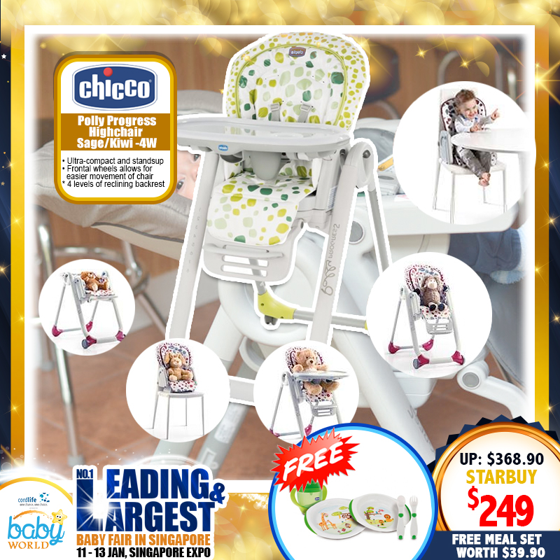 CHICCO Polly Progress 5-in-1 Highchair + Free Meal Set 12M+ worth $39.90