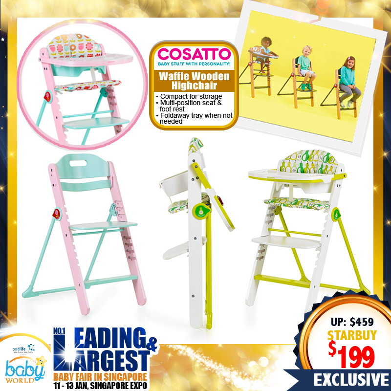 Cosatto Waffle Wooden Highchair + FREE removable, washable padded seat liner