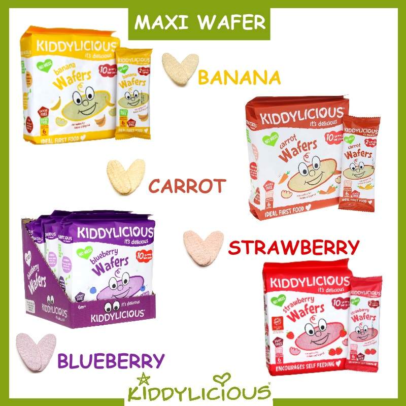 Kiddylicious Baby Food (Maxi Wafer / Mini Wafer / Mini Coconut Roll) Bundle of 3