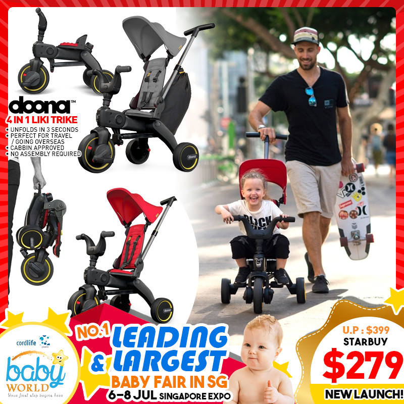 NEW LAUNCH!! Doona 4 in 1 Liki Trike Foldable into SUPER SMALL PORTABLE SIZE!! Use From 10mth UP To 3yo!! *ADDITIONAL $40 OFF for EARLY BIRD SPECIALS!!