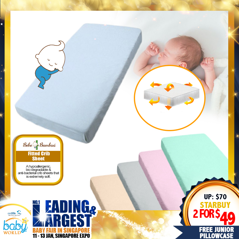 Bebe Bamboo Fitted Crib Sheet (Bundle Of 2) + Free Junior Pillowcase!