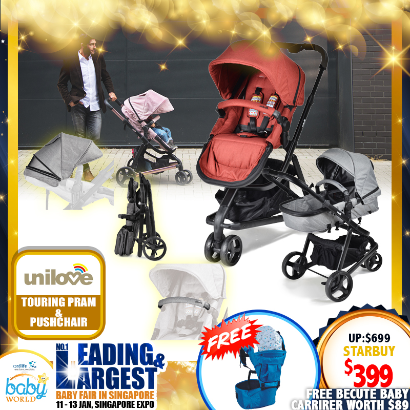 Unilove Touring Stroller + Free Becute Baby Carrier worth $89!!