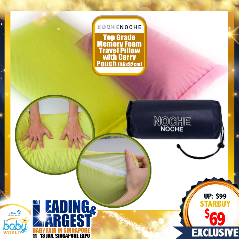 NocheNoche Travel Pillow with carry pouch (46cm x 32cm)