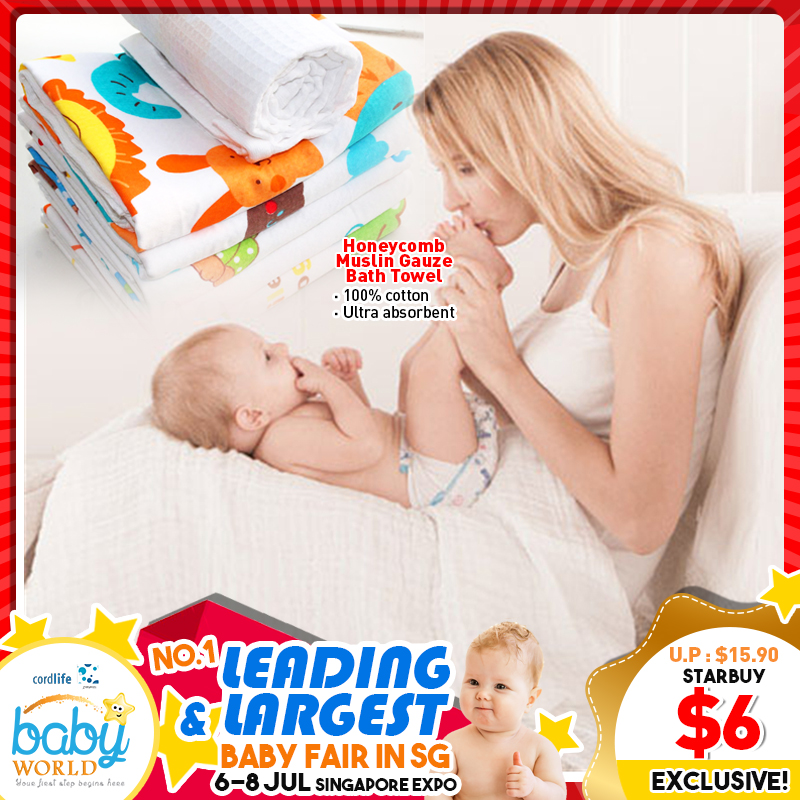 MummyKidz Honeycomb Muslin Gauze Bath Towel -100% Cotton (*Additional Discount for Early Bird Specials)