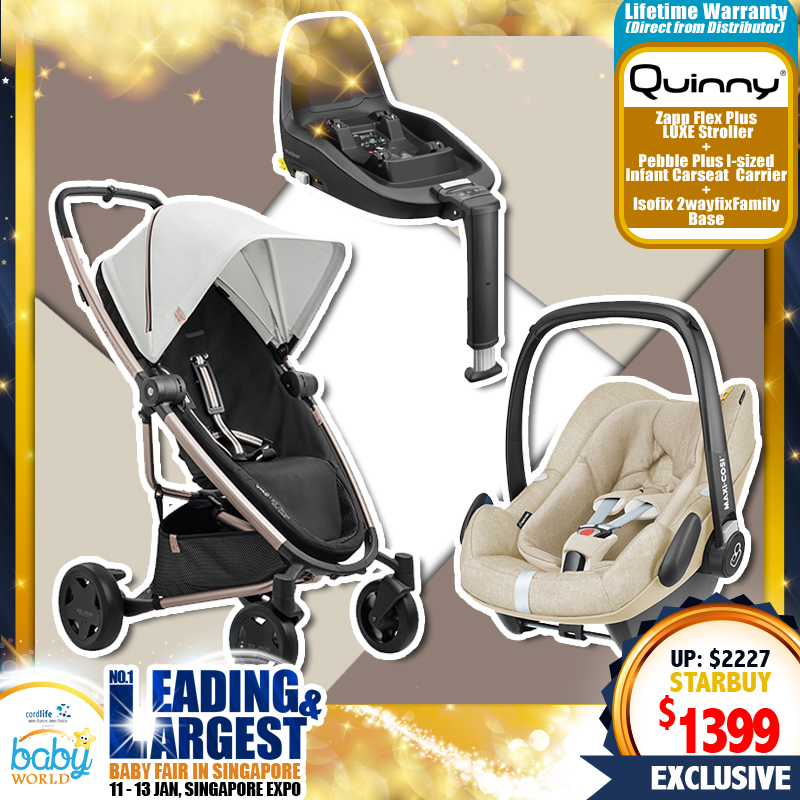 Quinny Zapp Flex Plus LUXE Stroller (RACHEL ZOE Limited Edition) + Pebble Plus Carseat + 2 Way Fix Family Base + Free Lifetime Warranty for Quinny only!!