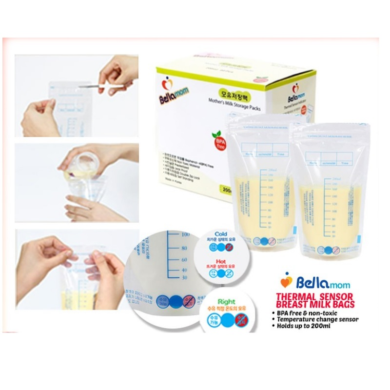 Bellamom Premium Breastmilk Storage Bags (5 Boxes-200pcs)