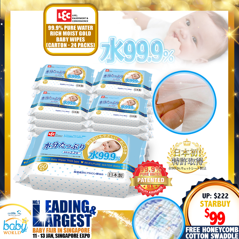 LEC 99.9% Pure Water Baby Wipes GOLD Carton Deal