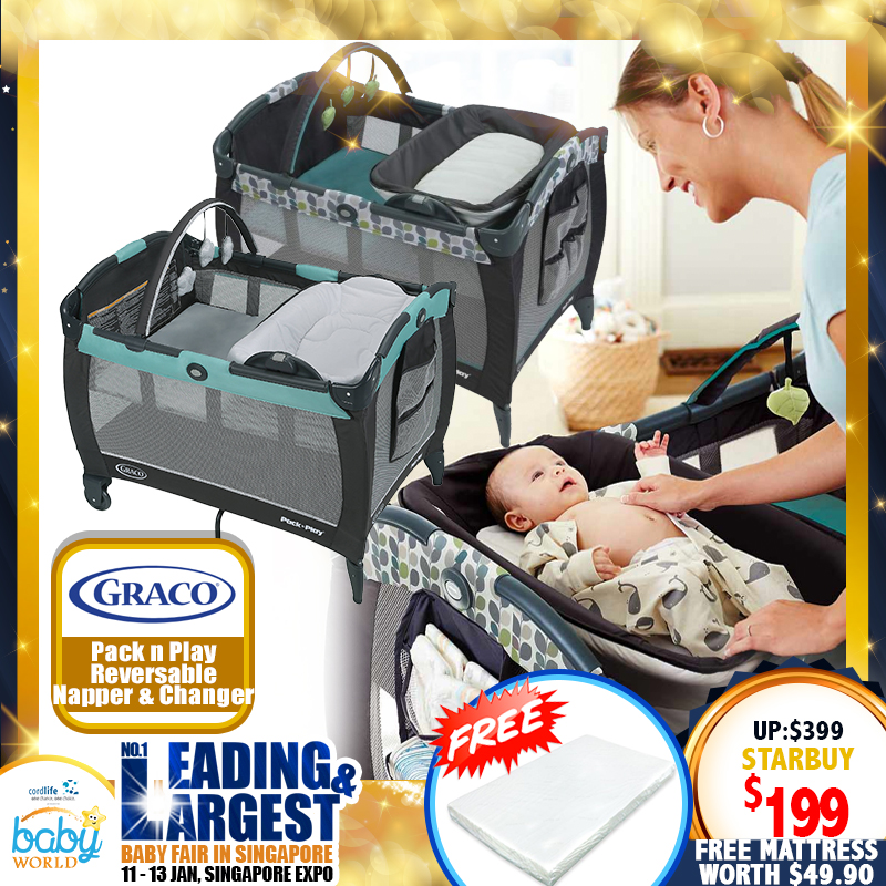 Graco Pack N Play Removable Napper and Changer Playpen (Tenley/Boden) + Free 2 Inch Anti Dustmite Mattress worth $49.90