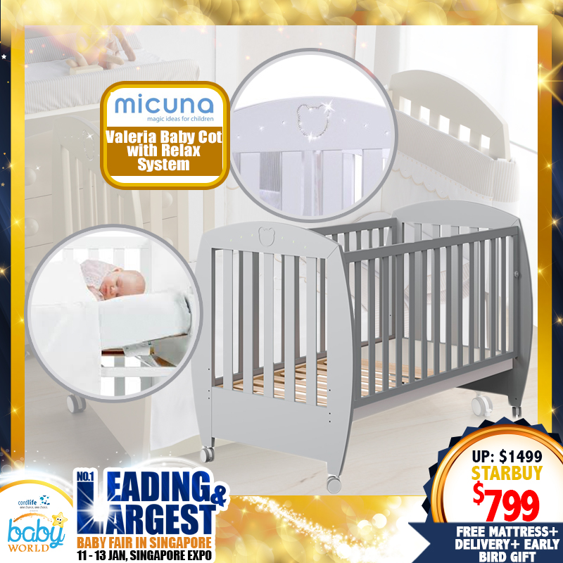 Micuna Valeria Baby Cot with Relax System + 4