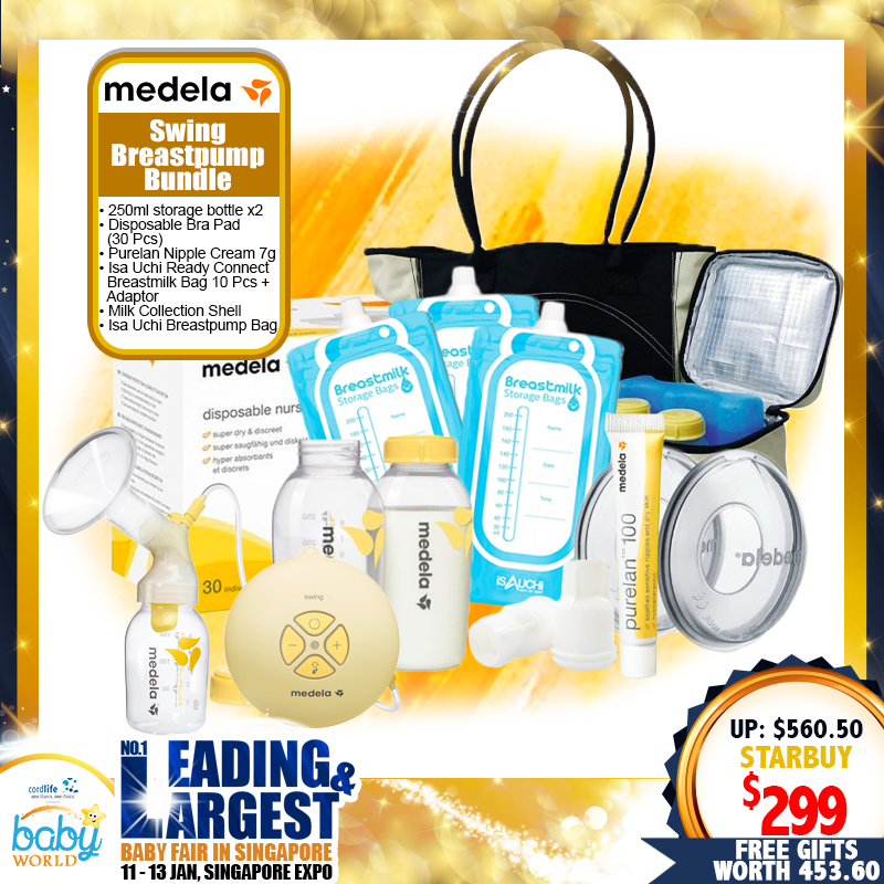 Medela Swing Breastpump + FREEBIES worth $211.50 + Local Warranty *PWP AVAILABLE!!