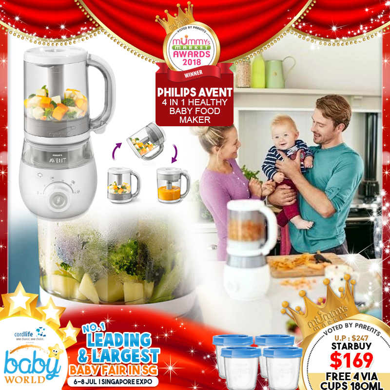 Philips Avent 4-In-1 Healthy Baby Food Maker + Free Storage Cups