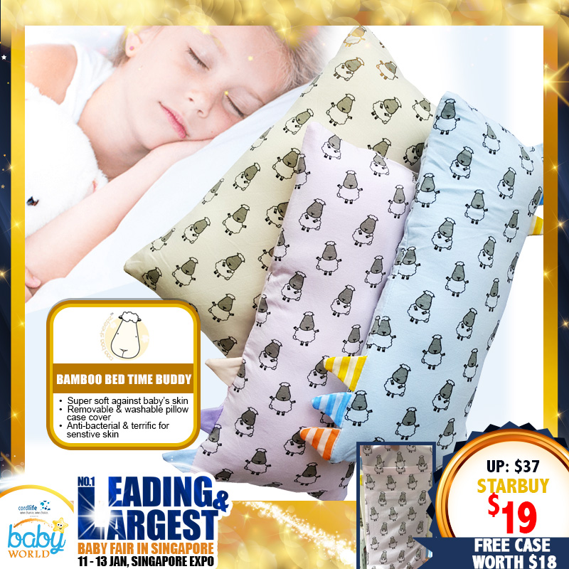 Baa Baa Sheepz Bamboo Bed-Time Buddy Pillow (Small Size) + FREE 1 Casing worth $18
