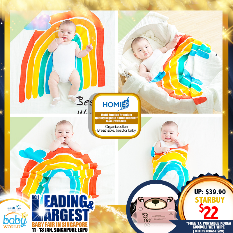 Homie Multi-Function Premium Quality Organic Cotton Blanket / Towel / Swaddle Asst Designs *ADDITIONAL FREE Gift for EARLY BIRD SPECIAL!!