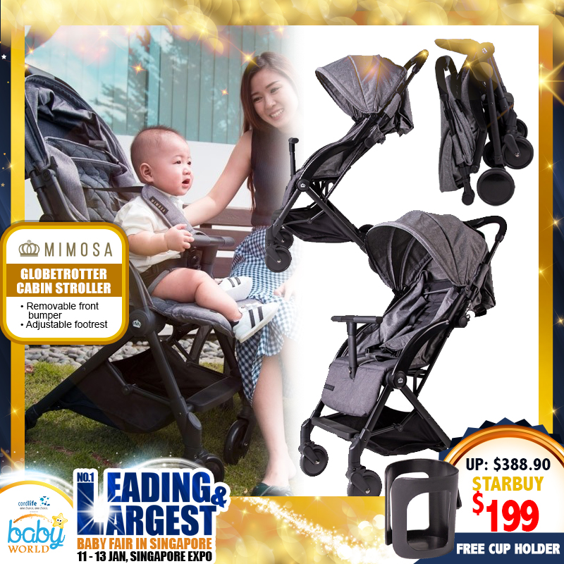 NEW LAUNCH!! Mimosa Globetrotter Cabin Travel Stroller (London Grey) FREE Cup Holder!!