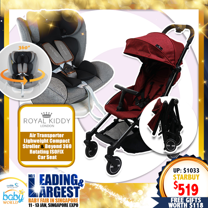 NEW LAUNCH!! Royal Kiddy London SUPER BUNDLE (RK Air Transporter Stroller + RK Beyond 360 Rotating ISOFIX CarSeat) FREE Gifts Worth $119