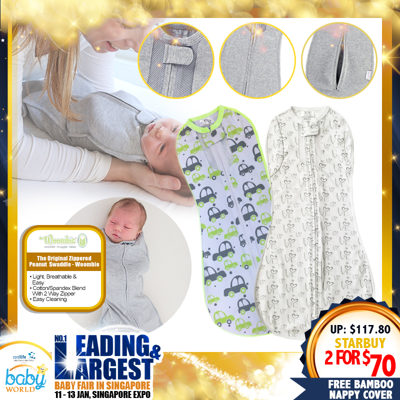 Woombie The Original Zippered Peanut Swaddle (Bundle of 2) + Free Bamboo Nappy Cover