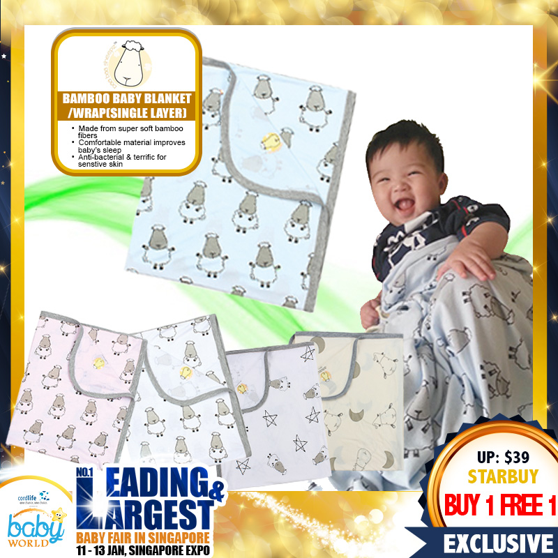 Baa Baa Sheepz Bamboo Baby Blanket / Wrap (Single Layer) - BUY 1 FREE 1!!