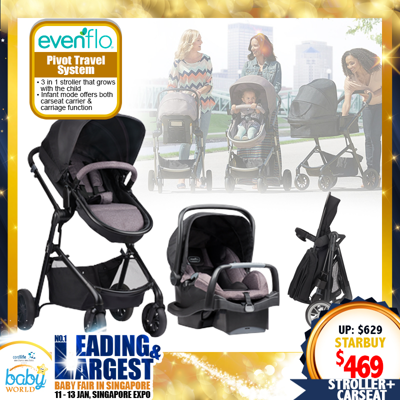 Evenflo Pivot Travel System 3 IN 1 (Carriage + Stroller + Carseat)