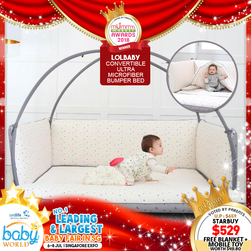 LOLBaby Convertible Microfiber Bumper Bed (Large) + FREE LIMITED EDITION RAYON BLANKET & MOBILE TOY