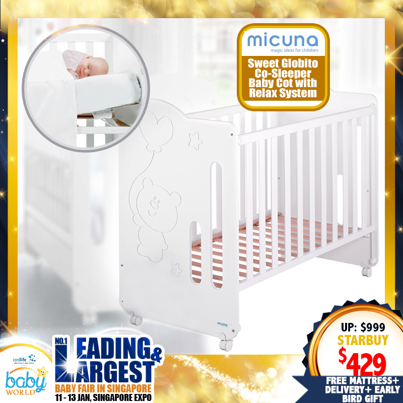 Micuna Sweet Globito Co-Sleeper Baby Cot with Relax System (Made in Spain!) + 4
