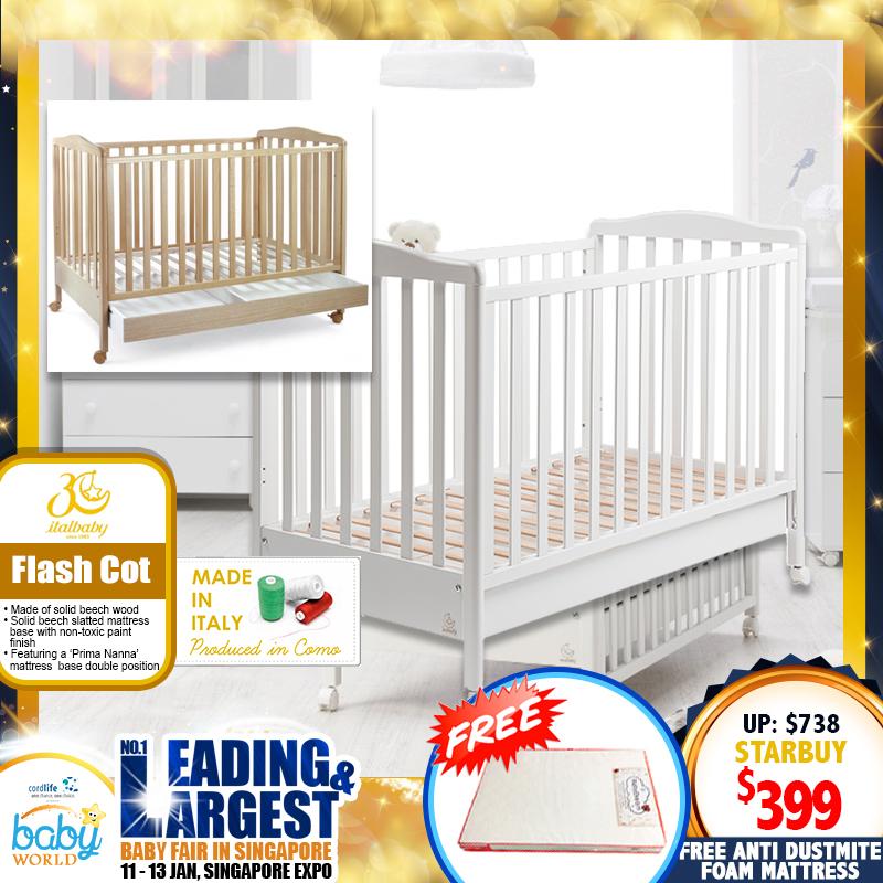 ITALBABY Flash Baby Cot + Free 4