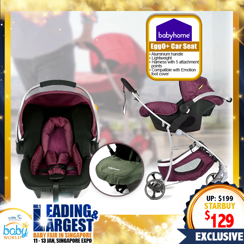 2.5KG SUPER Lightweight Babyhome Egg 0 Stroller + Infant Carseat