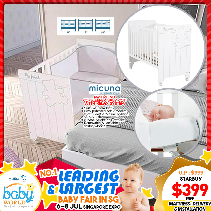 Micuna My Friend Baby Cot Co-Sleeper with Relax System Plus FREE 4-inc High-Density Mattress *ADDITIONAL FREE Gifts For EARLY BIRD Specials!!