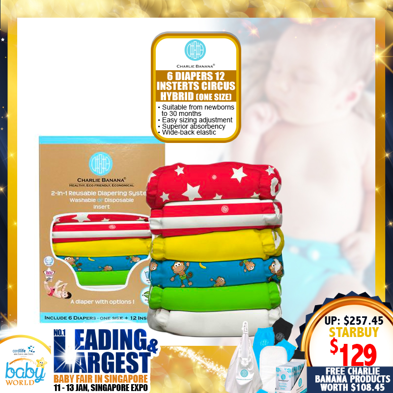 Charlie Banana 6 Diapers 12 Inserts Reusable Cloth Diaper + FREE GIFTS WORTH $108.45!!