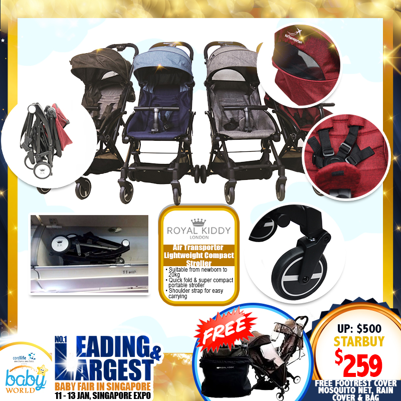 Royal Kiddy London - RK Air Transporter Lightweight Compact Stroller FREE Footrest cover, Mosquito Net, Rain Cover & Bag Worth $99