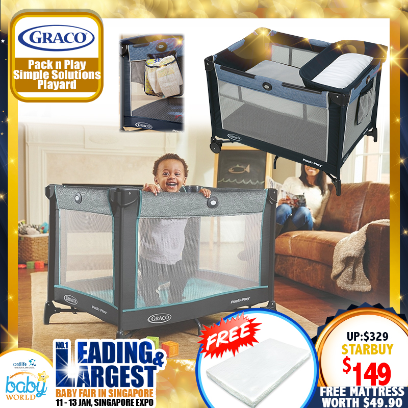 Graco Pack N Play Simple Solutions Playpen + Free 2 Inch Anti Dustmite Mattress worth $49.90