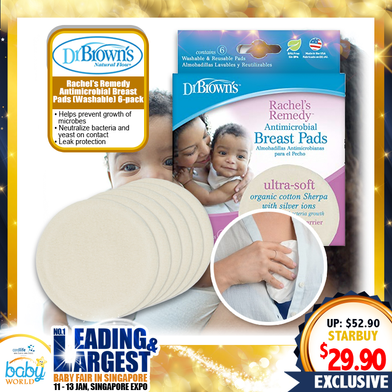 Dr Brown Rachel's Remedy Antimicrobial Washable Breast Pads (Washable) 6-Pack