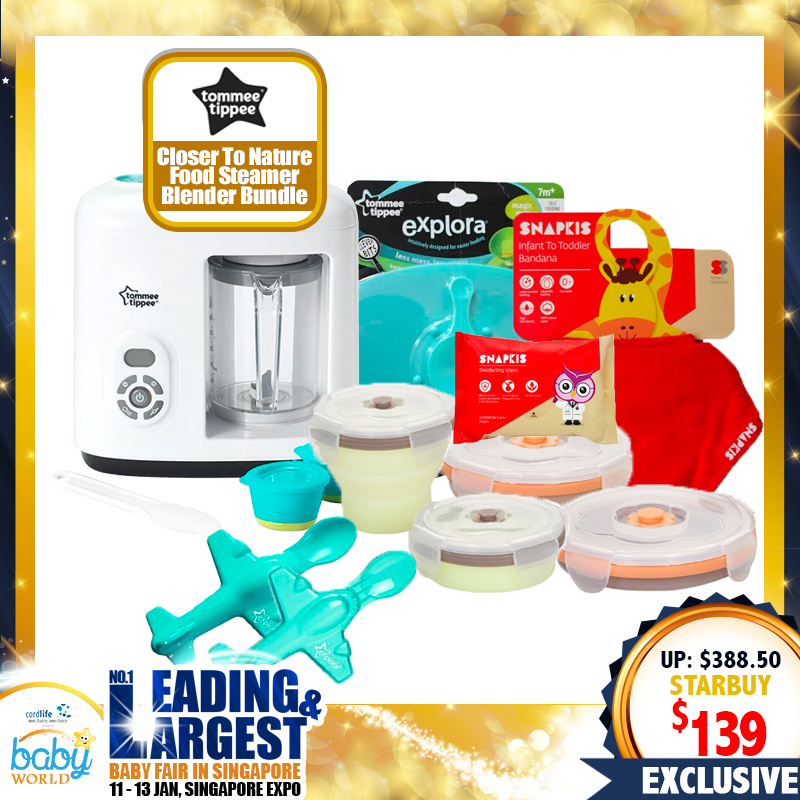 TOMMEE TIPPEE Closer to Nature Food Steamer Blender Bundle + Free Gifts Worth $89.50!!