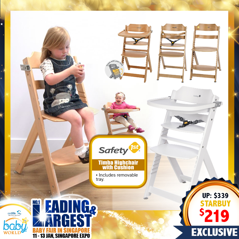 Safety 1st Timba Wooden Highchair with Cushion
