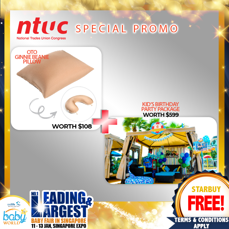 NTUC - FREE OTO Ginnie Beanie worth $108 with NTUC Plus Card Sign Up + WIN a Kids' Birthday Party @ Cabana Package* (worth $599) from Wild Wild Wet