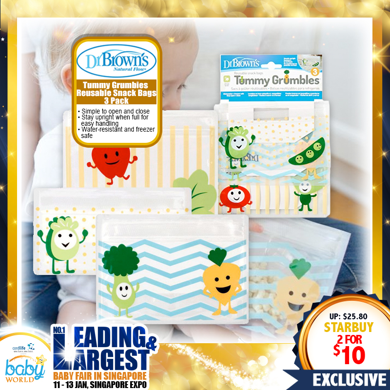 Dr Brown Tummy Grumbles Reusable Snack Bags (3pcs) BUY 1 FREE 1!