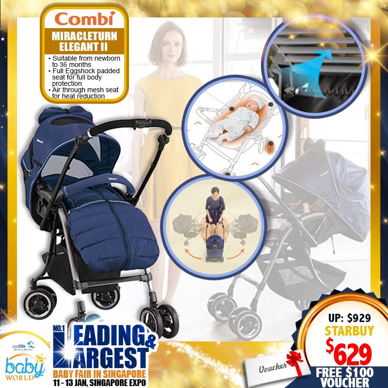 Combi Miracleturn Elegant II (MT Elegant II) Stroller FREE $100 Combi Voucher