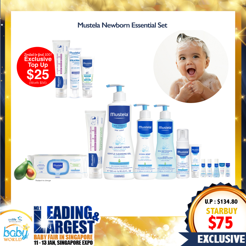Mustela Newborn Essential Skincare Set (Cleansing, Shampoo, Lotion, Face cream, Wipes) + Free Travel Essentials Set