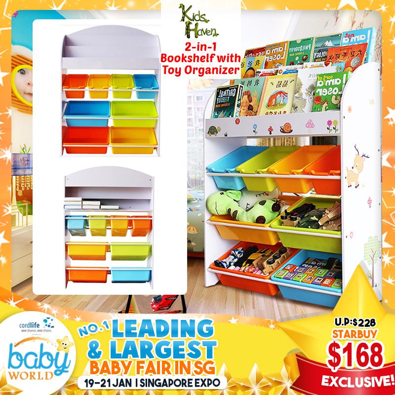 Kids Haven 2-in-1 Bookshelf with Toy Organizer