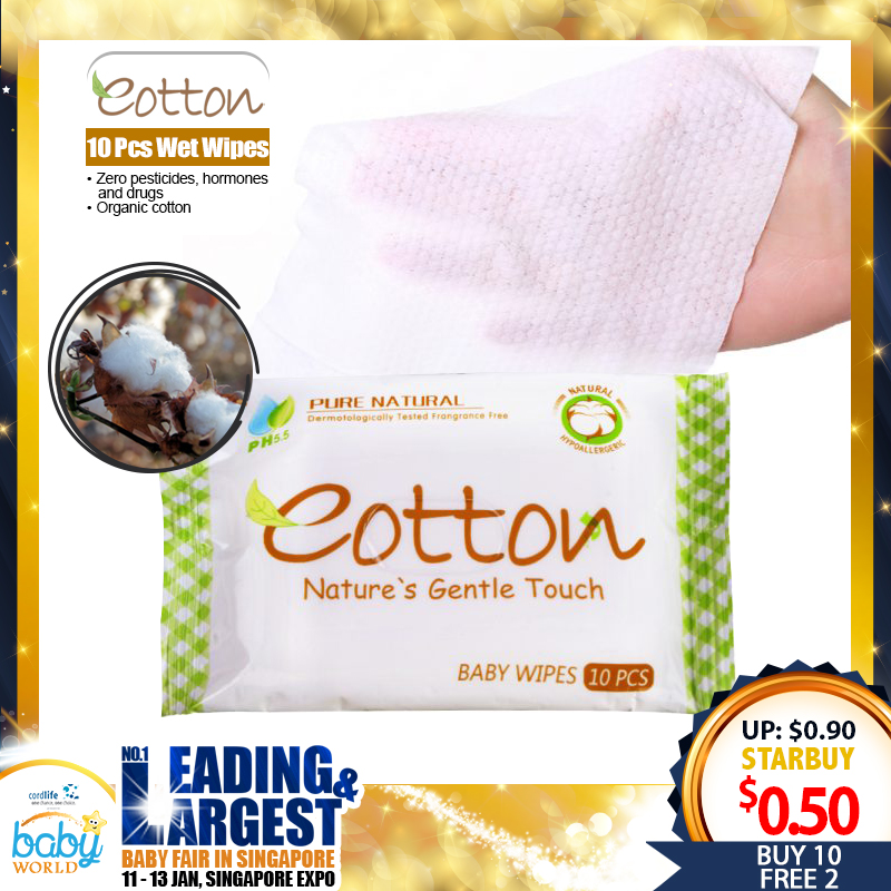 Eotton 10 Pcs Natural and Hypoallergernic Baby Wet Wipes